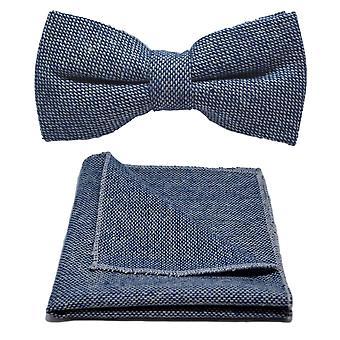 Highland Weave Stonewashed Blue Bow Tie & Pocket Square Set