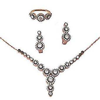 Antique rose gold plated round jewellery set, necklace, earrings and ring