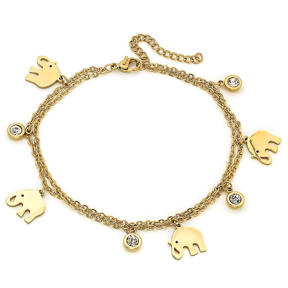 Ladies 18K Gold Plated Stainless Steel Anklet With Elephant