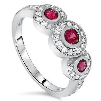 1ct Ruby & Diamond Three Stone Ring 14K White Gold