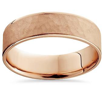14 k Rose Gold gehämmert Comfort Fit Hochzeitsband