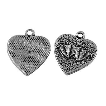 Packet 20 x Antique Silver Tibetan 17mm Heart Charm/Pendant ZX13010
