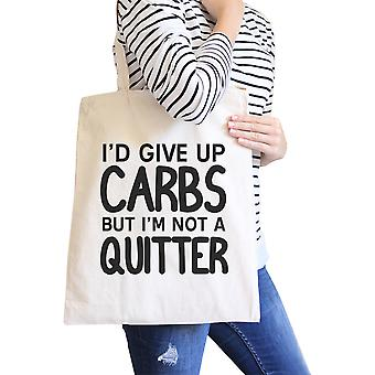 Carbs Quitter Natural Canvas Shoulder Bag Washable Workout Tote Bag