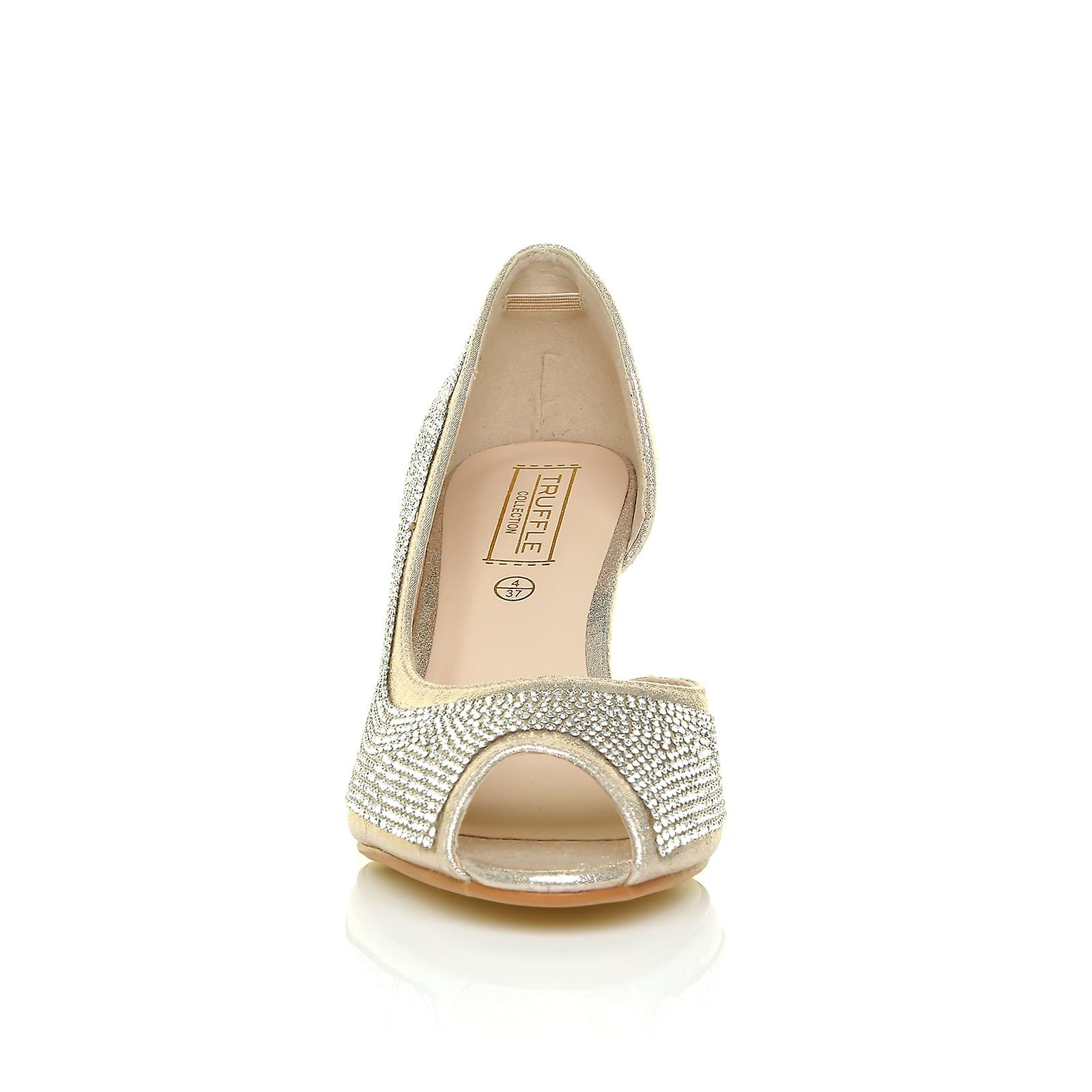 Gold Toe Shoes Diamante Shimmer Court MAY Peep Embellished Wedding Heel Mid Champagne 5nxwwPX