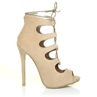 ELLE Nude Suede Lace Up Ghillie Caged Peep Toe High Heel Sandals