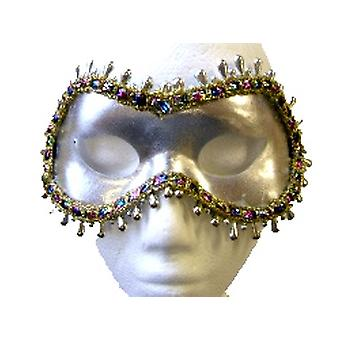 Silver Eyemask With Multi Coloured Trim And Silver Bead Surround (1)