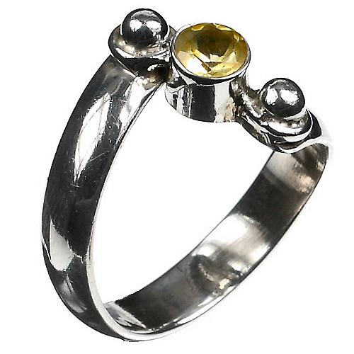 Citrin Twist Silver Ring