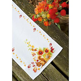 Squirrel In Autumn Table Runner On Aida Counted Cross Stitch-12.8