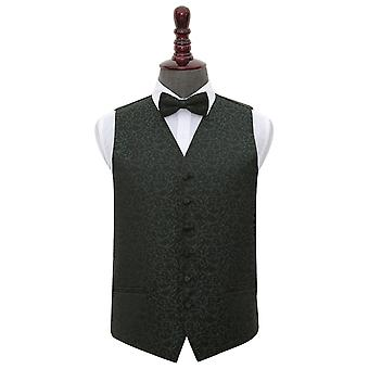 Black & Green Swirl Wedding Waistcoat & Bow Tie Set