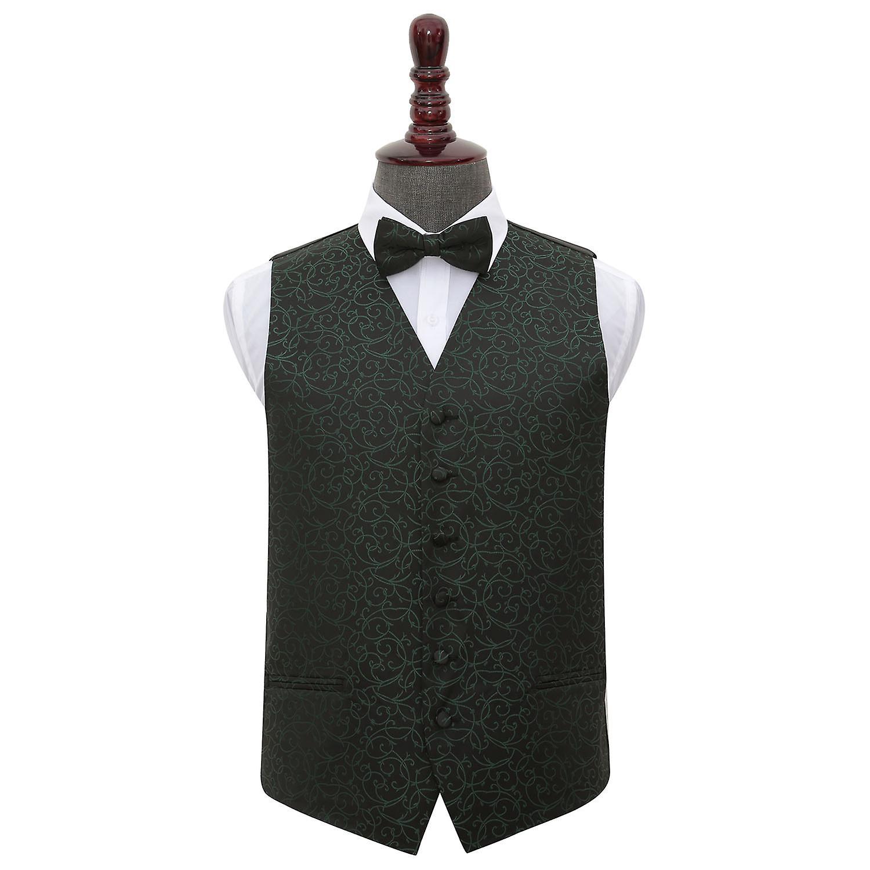 Black & Green Swirl Wedding Waistcoat & Bow Tie Set
