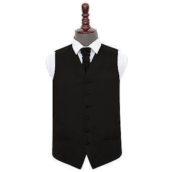 Black Plain Satin Wedding Waistcoat & Cravat Set