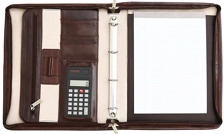San Babila Grain Leather Zipped Folio With Retractable Handles Conference Folder