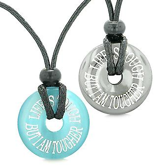 Amulets Life is Tough But I am Tougher Couples Donuts Hematite Blue Simulated Cats Eye Necklaces
