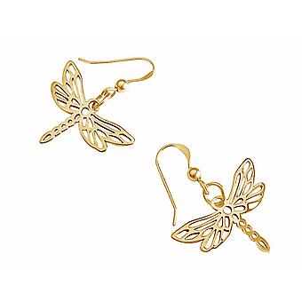 Gemshine - ladies - earrings - 925 Silver - gold plated - Dragonfly - 3 cm