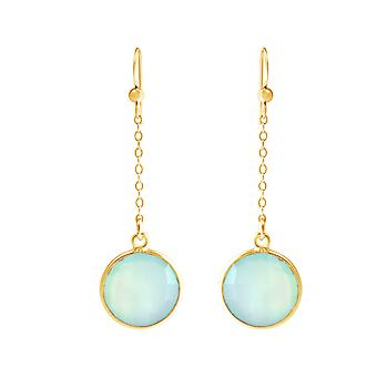 GEMSHINE ladies earrings made of high-quality gold-plated 925 Silver. 4.5 cm Yoga earrings with Chalcedonians of excellent quality. Made in Madrid, Spain. In the elegant jewelry with gift box.