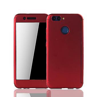 Huawei Nova 2 Handy-Hülle Schutz-Case Full-Cover Panzer Schutz Glas Rot
