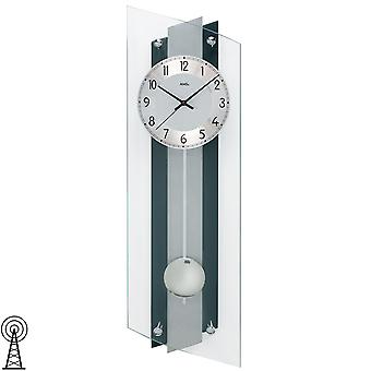 Radio controlled wall clock Black Silver wood rear wall aluminium mineral glass