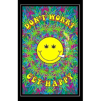 Dont Worry Get Happy Blacklight Poster Print