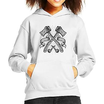 Axes And Pipes Retro Logo Kid's Hooded Sweatshirt