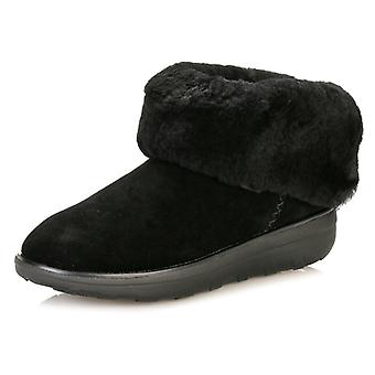 FitFlop Womens All Black Mukluk Shorty II Boots