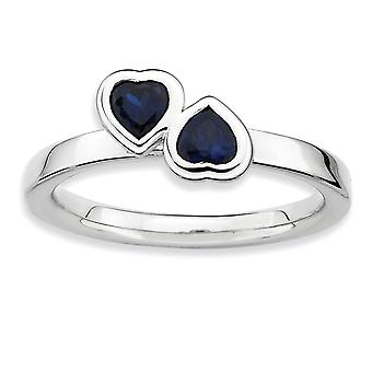 Sterling Silver Bezel Polished Rhodium-plated Stackable Expressions Cr. Sapphire Double Heart Ring - Ring Size: 5 to 9