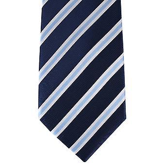 David Van Hagen Regimental Striped Tie - Navy/White/Lilac