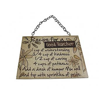 Recipe for a Good Teacher Wooden Gift Plaque