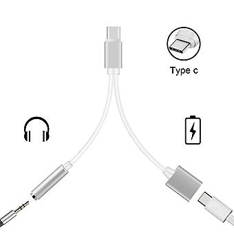 USB-C Adapter/Splitter-2 in 1 with 3.5 mm Aux-in Port