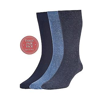 HJ Hall Plan Cotton Rich Sock 3 Pack - Navy/Blue/Denim