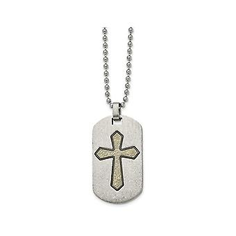 Mens Dog Tag Cross Pendant Necklace in Stainless Steel with Chain