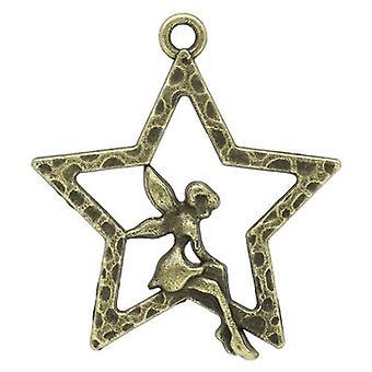 Packet 15 x Steampunk Antique Bronze Tibetan 28mm Fairy Charm/Pendant ZX05340