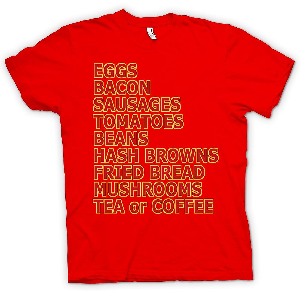 Mens T-shirt - Fry Up - Eggs, Bacon, Sausages¢ - Funny