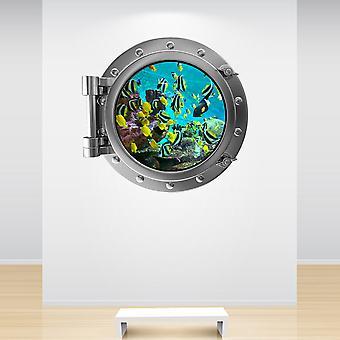 Full Colour Aquarium Fish Tank Porthole Wall Sticker
