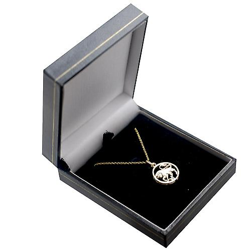 9ct Gold 11mm pierced Taurus Zodiac Pendant with a cable Chain 16 inches Only Suitable for Children
