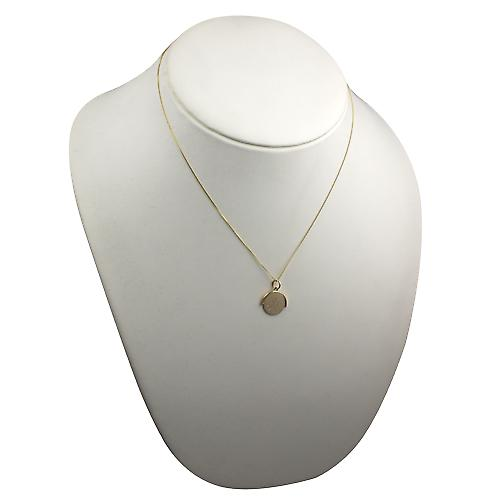 9ct Gold 15x16mm I Love You round spinning disc Pendant with a curb chain