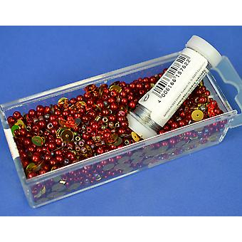 Red & Gold Christmas Sequin & Bead Mix with Wire - 80g | Childrens Craft Beads