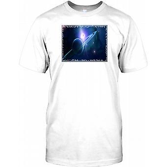 Astronomi Fantasy - ringmärktes Planet Mens T Shirt