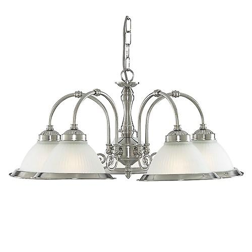 Searchlight 1045-5 American Diner 5 Arm Ceiling Pendant With Ribbed Opaque Glass