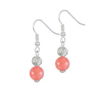 Ewige Sammlung Debutante Coral Pink Halb edel Silber Ton Tropfen durchbohrte Ohrringe