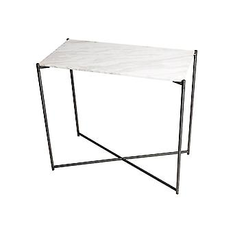 Gillmore Space White Marble Small Console Table With Gun Metal Cross Base