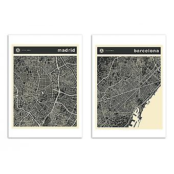 2 Art-Posters 30 x 40 cm - Duo Barcelona and Madrid - Jazzberry Blue