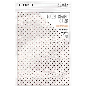 Craft Perfect by Tonic Studios A4 Foiled Craft Card Rose Gold Hearts