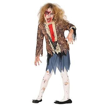 Filles Scary Zombie Halloween Fancy Dress Costume