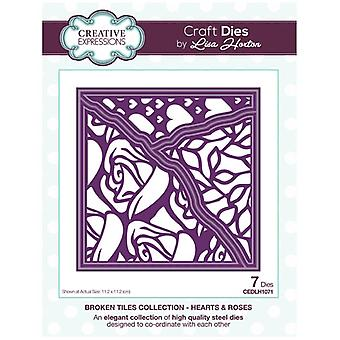 Creative Expressions Die Set Hearts & Roses by Lisa Horton Set of 7 | Broken Tiles Collection