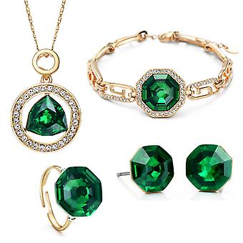 14K Gold Plated Encircled Emerald Green Crystal Set