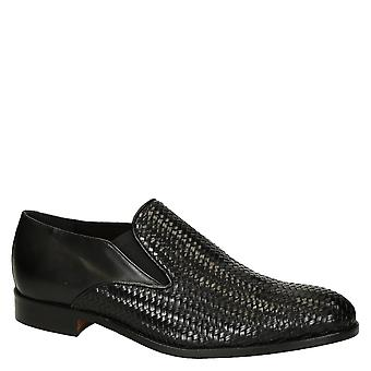 Leonardo Shoes Men's handmade gussets loafers shoes in black woven leather