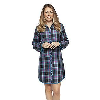 Cyberjammies 4264 Women's Ezme Black Mix Check Cotton Nightshirt