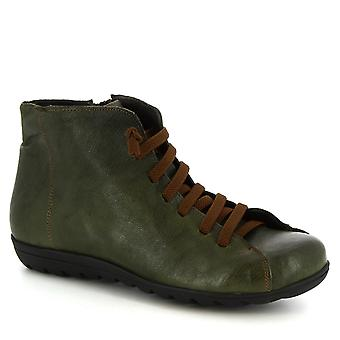 Leonardo Shoes Women's handmade lace-ups ankle boots in green calf leather