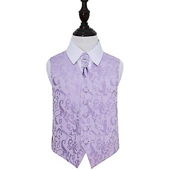 Boy's Lilac  Passion Floral Patterned Wedding Waistcoat & Cravat Set