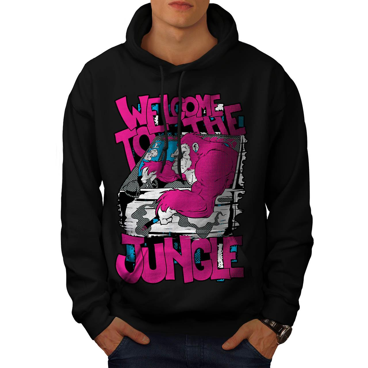 Welcome To Jungle Animal Men Black Hoodie | Wellcoda